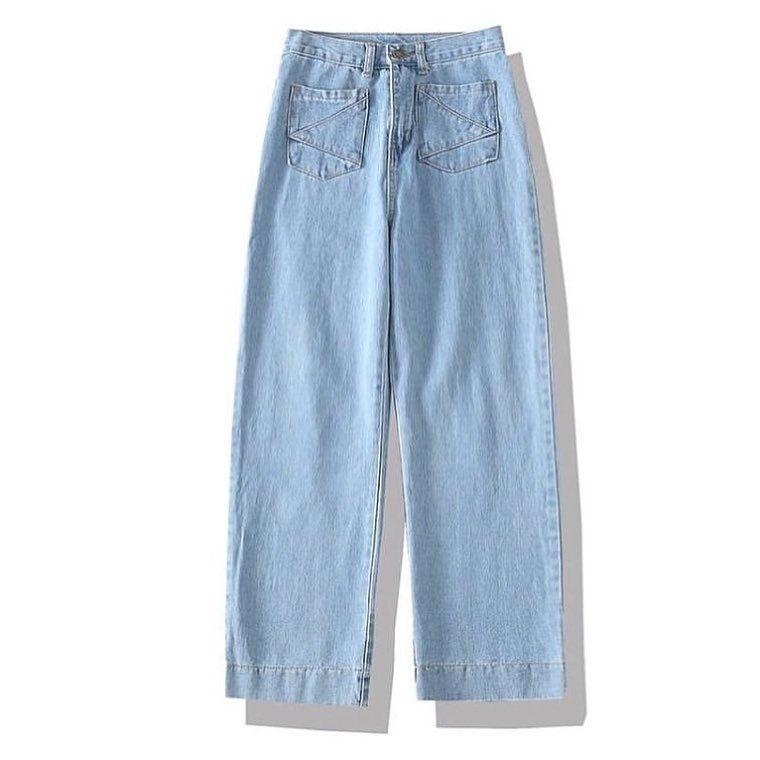 mẫu quần jeans nữ ống rộng VNXK tại xưởng sản xuất quần jeans xuất khẩu giá sỉ Thuận Hải TP. HCM
