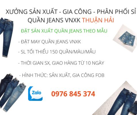 công ty nhận đặt may gia công jeans xuất khẩu theo mẫu - Công ty may quần jeans Thuận Hải